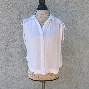 Free People Boxy Striped White Cinch Blouse Shirt
